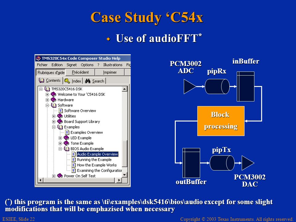 Copyright © 2003 Texas Instruments. All rights reserved. ESIEE, Slide 22 Case Study C54x Use of audioFFT * Use of audioFFT * ( * ) this program is the