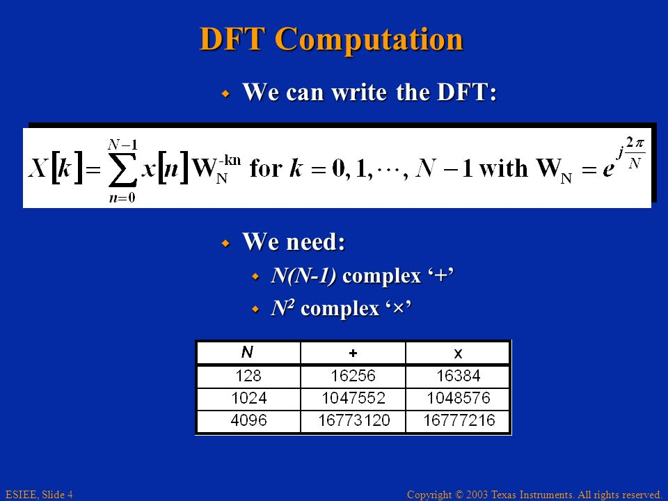 Copyright © 2003 Texas Instruments. All rights reserved. ESIEE, Slide 4 DFT Computation We can write the DFT: We can write the DFT: We need: We need: