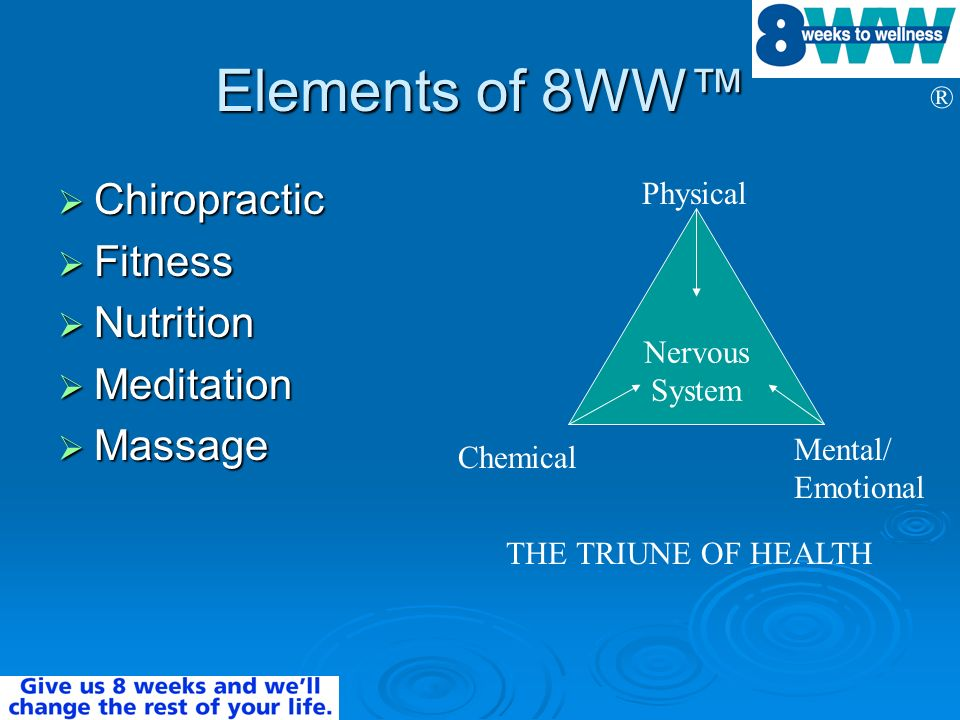 ® Elements of 8WW Chiropractic Chiropractic Fitness Fitness Nutrition Nutrition Meditation Meditation Massage Massage Nervous System Physical Chemical