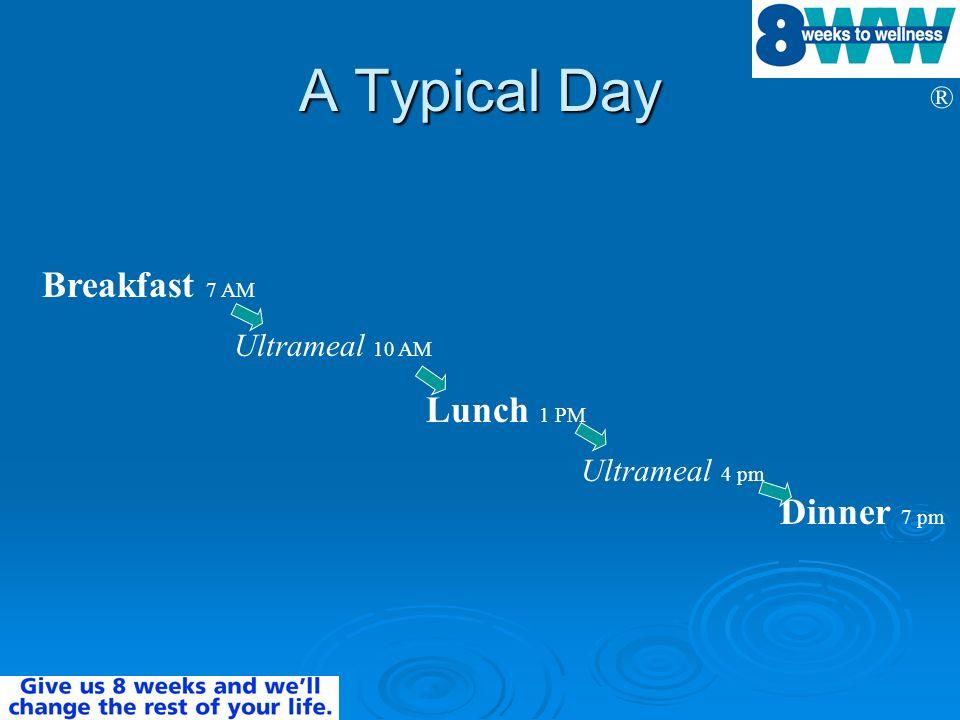 ® A Typical Day Breakfast 7 AM Ultrameal 10 AM Lunch 1 PM Ultrameal 4 pm Dinner 7 pm