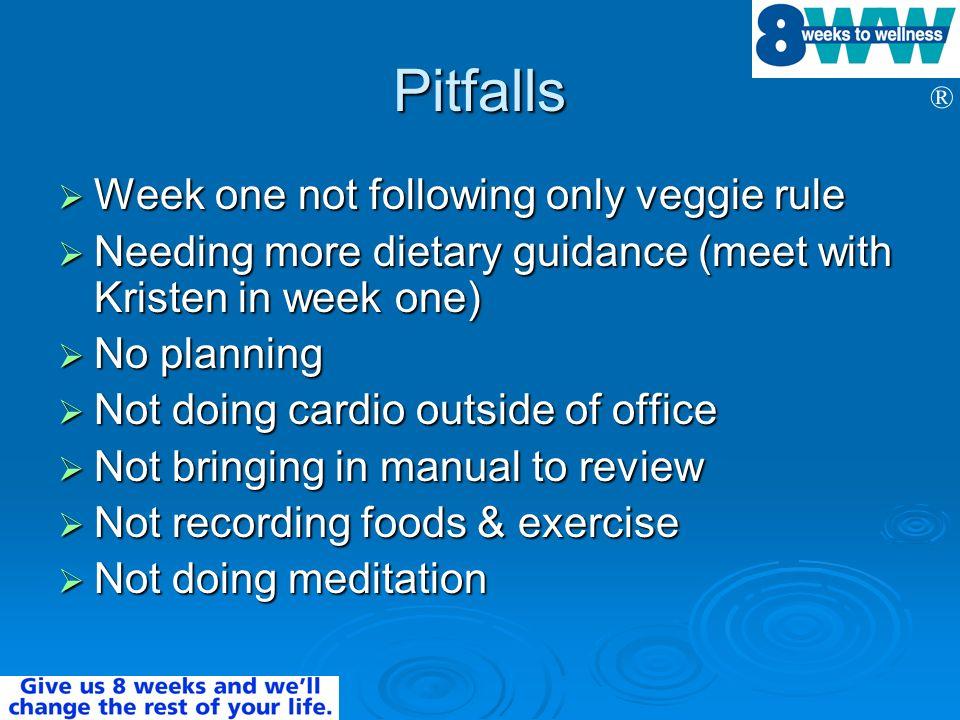 ® Pitfalls Week one not following only veggie rule Week one not following only veggie rule Needing more dietary guidance (meet with Kristen in week on