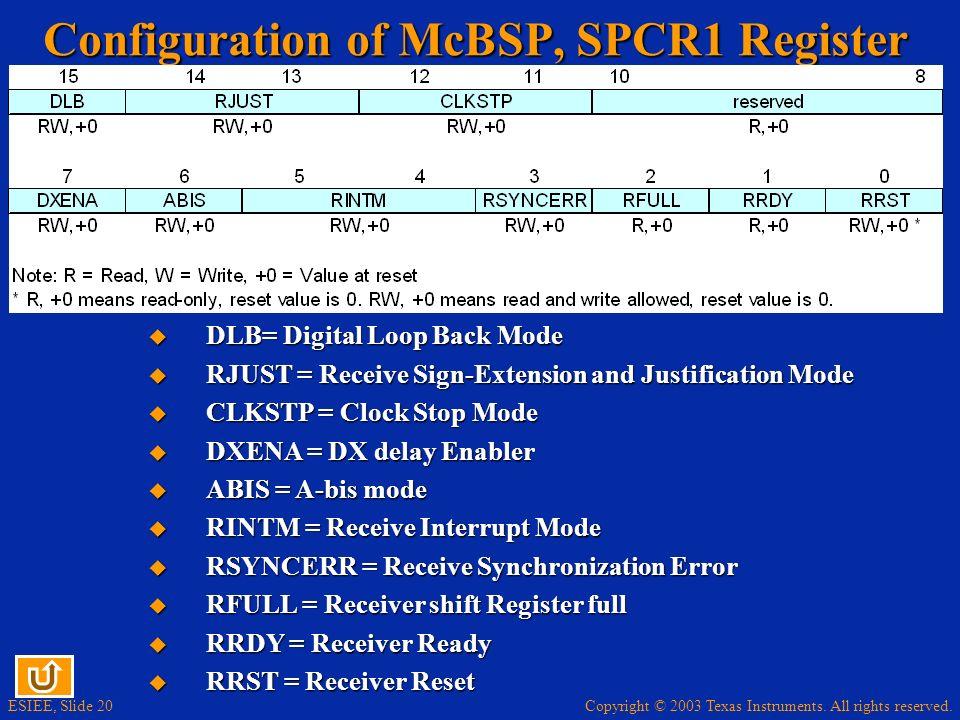 Copyright © 2003 Texas Instruments. All rights reserved. ESIEE, Slide 20 Configuration of McBSP, SPCR1 Register DLB= Digital Loop Back Mode DLB= Digit