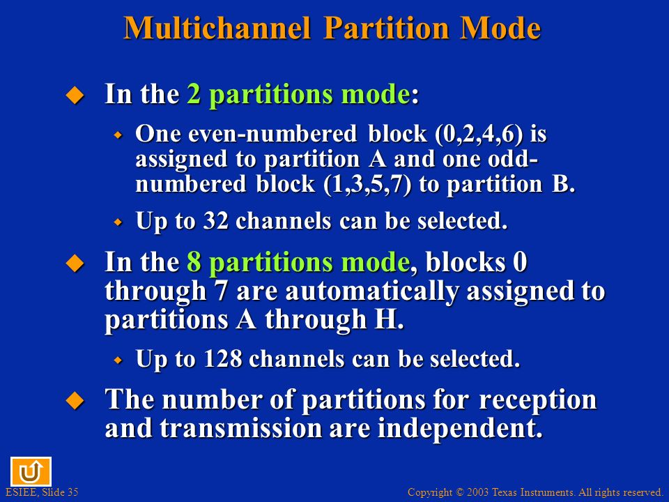 Copyright © 2003 Texas Instruments. All rights reserved. ESIEE, Slide 35 Multichannel Partition Mode In the 2 partitions mode: In the 2 partitions mod