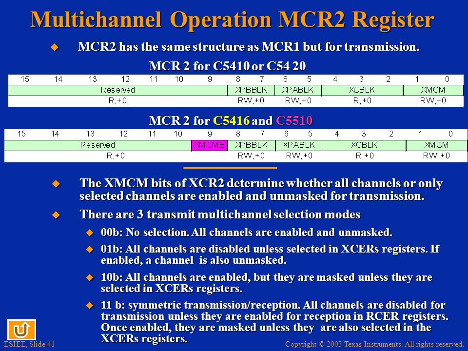 Copyright © 2003 Texas Instruments. All rights reserved. ESIEE, Slide 41 Multichannel Operation MCR2 Register MCR 2 for C5410 or C54 20 MCR 2 for C541