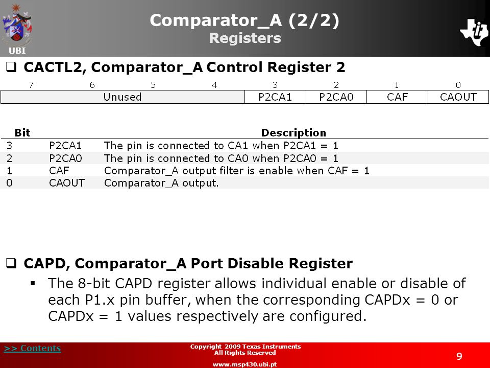 UBI >> Contents 9 Copyright 2009 Texas Instruments All Rights Reserved www.msp430.ubi.pt Comparator_A (2/2) Registers CACTL2, Comparator_A Control Reg