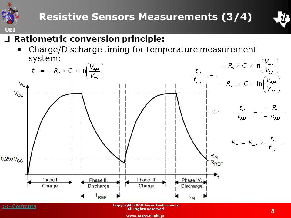 UBI >> Contents 8 Copyright 2009 Texas Instruments All Rights Reserved www.msp430.ubi.pt Resistive Sensors Measurements (3/4) Ratiometric conversion p