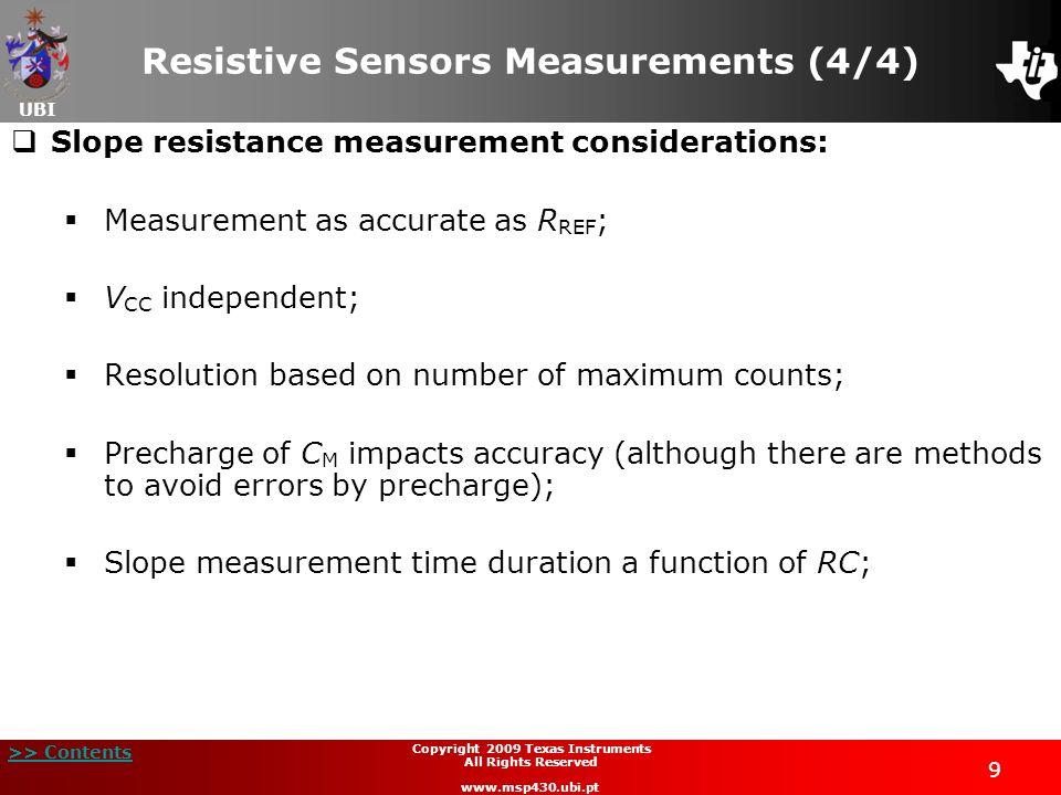 UBI >> Contents 9 Copyright 2009 Texas Instruments All Rights Reserved www.msp430.ubi.pt Resistive Sensors Measurements (4/4) Slope resistance measure