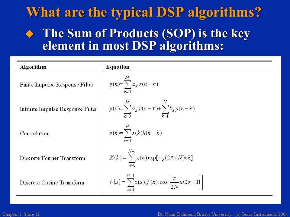 Dr. Naim Dahnoun, Bristol University, (c) Texas Instruments 2004 Chapter 1, Slide 11 What are the typical DSP algorithms? The Sum of Products (SOP) is