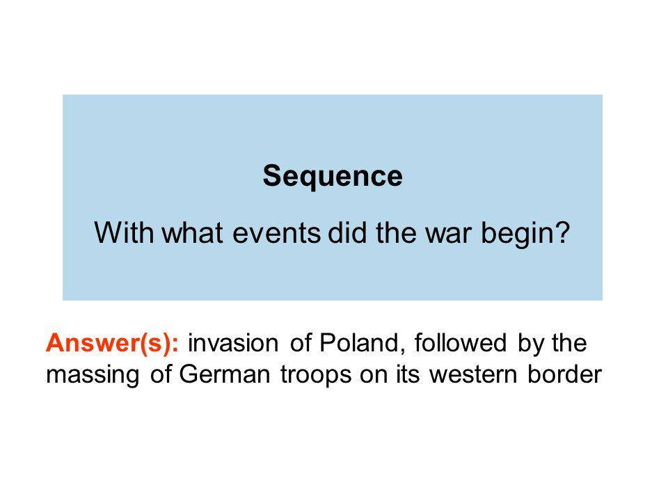 Sequence With what events did the war begin.