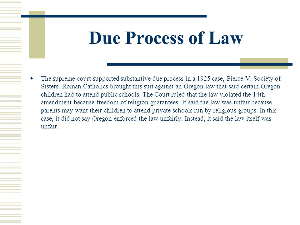 Due Process of Law Each state must protect the rights of individuals.