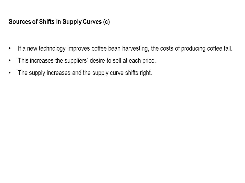 Sources of Shifts in Supply Curves (c) If a new technology improves coffee bean harvesting, the costs of producing coffee fall. This increases the sup