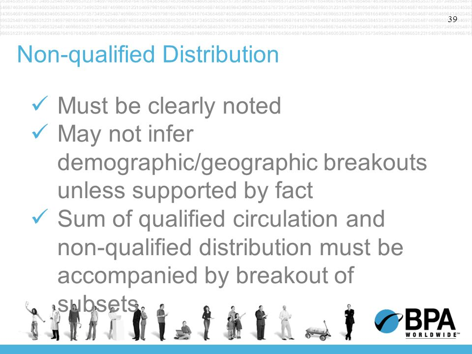 39 Non-qualified Distribution Must be clearly noted May not infer demographic/geographic breakouts unless supported by fact Sum of qualified circulation and non-qualified distribution must be accompanied by breakout of subsets