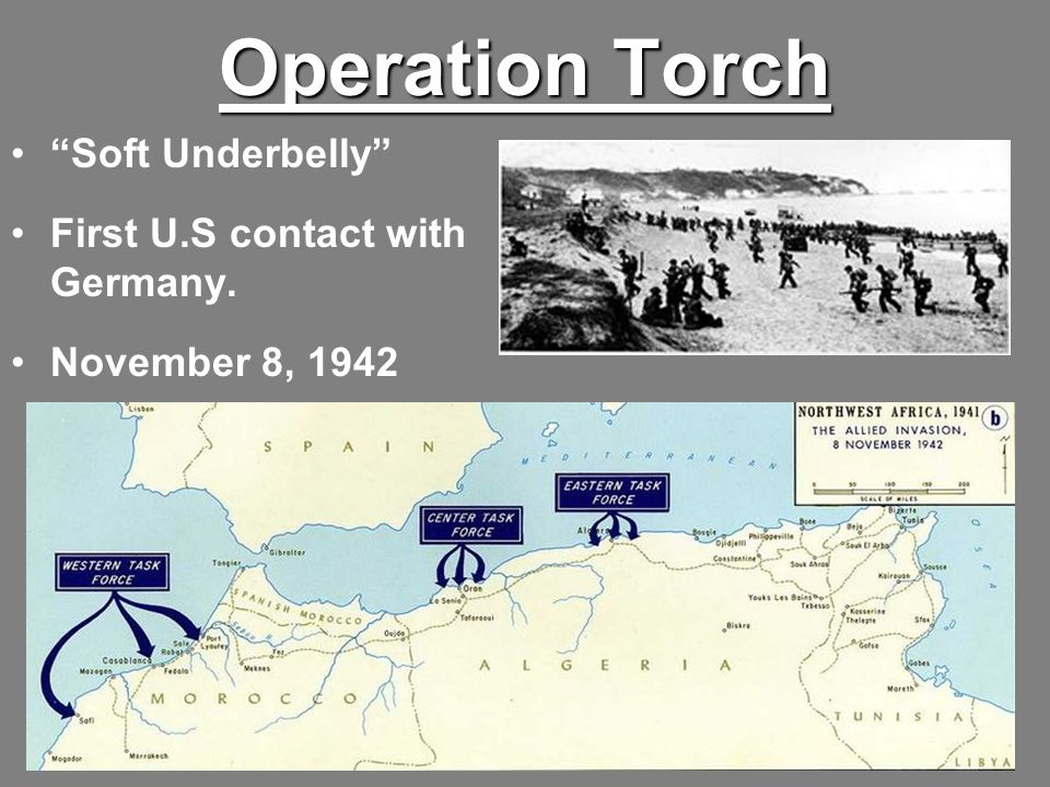 Operation Torch Soft Underbelly First U.S contact with Germany. November 8, 1942