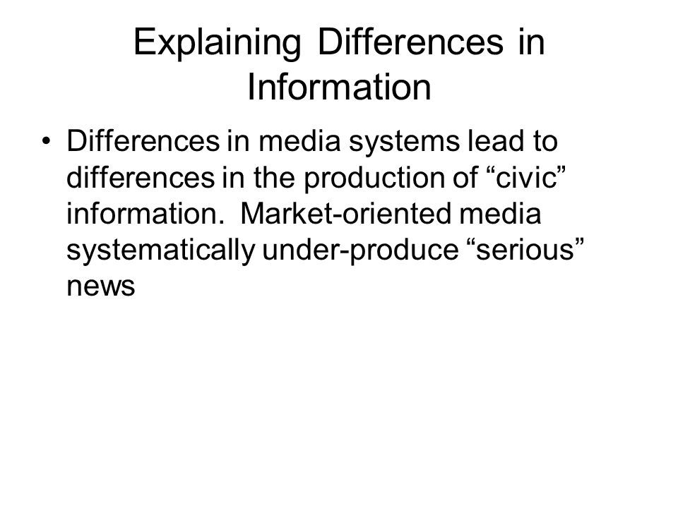Explaining Differences in Information Differences in media systems lead to differences in the production of civic information.