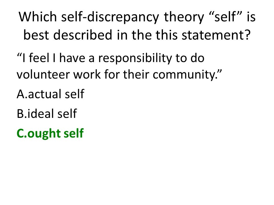 Which self-discrepancy theory self is best described in the this statement? I feel I have a responsibility to do volunteer work for their community. A