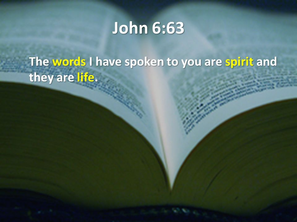 John 6:63 The words I have spoken to you are spirit and they are life.