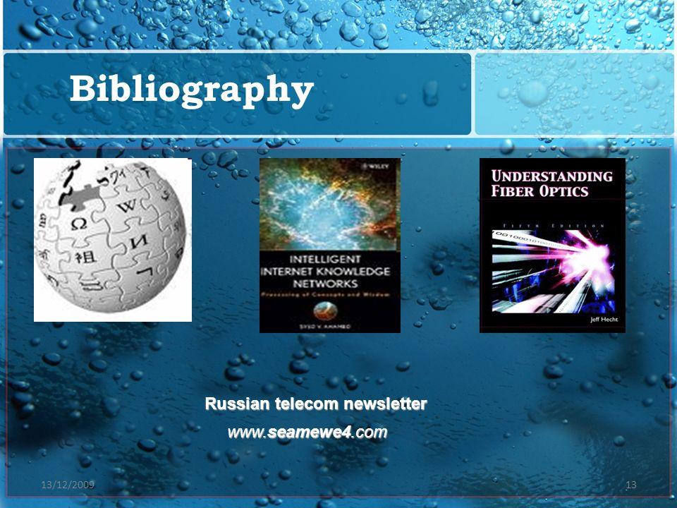 13/12/200913 Bibliography Russian telecom newsletter www.seamewe4.com