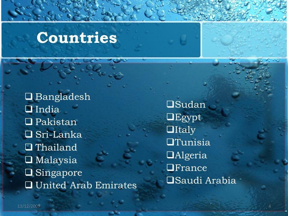 13/12/20094 Bangladesh India Pakistan Sri-Lanka Thailand Malaysia Singapore United Arab Emirates Countries Sudan Egypt Italy Tunisia Algeria France Sa