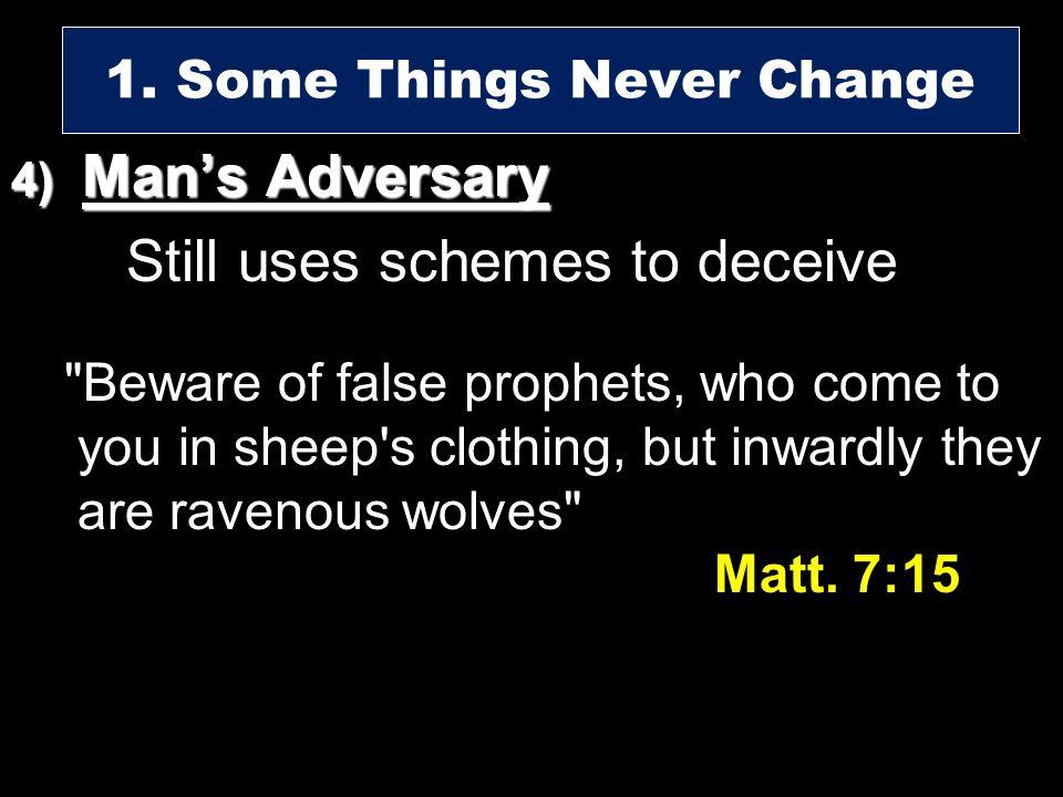 4) Mans Adversary Still uses schemes to deceive