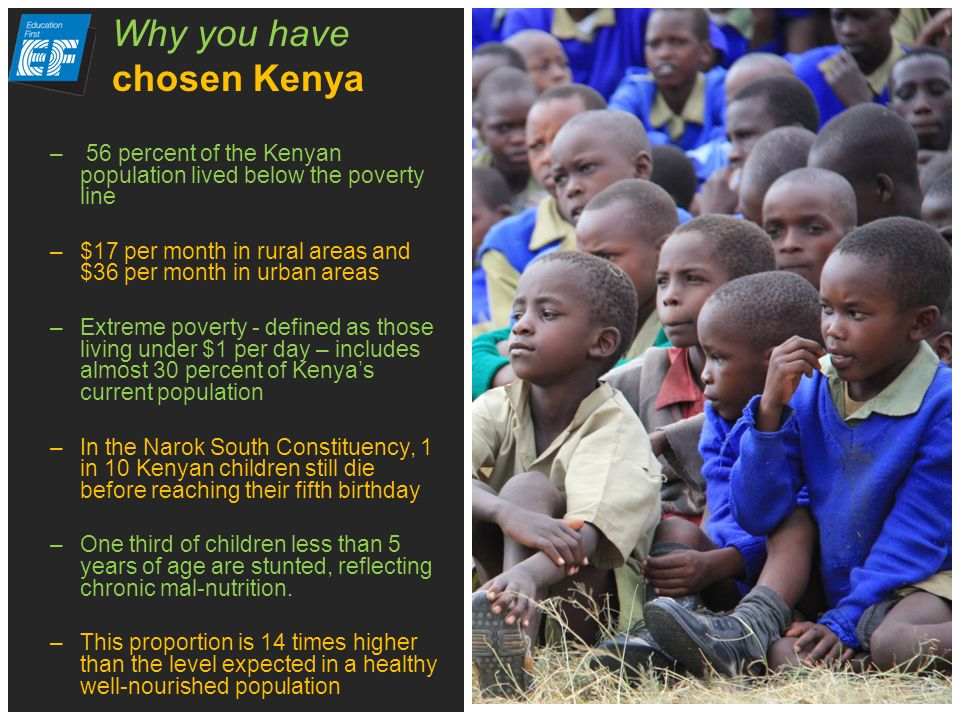 – 56 percent of the Kenyan population lived below the poverty line –$17 per month in rural areas and $36 per month in urban areas –Extreme poverty - defined as those living under $1 per day – includes almost 30 percent of Kenyas current population –In the Narok South Constituency, 1 in 10 Kenyan children still die before reaching their fifth birthday –One third of children less than 5 years of age are stunted, reflecting chronic mal-nutrition.