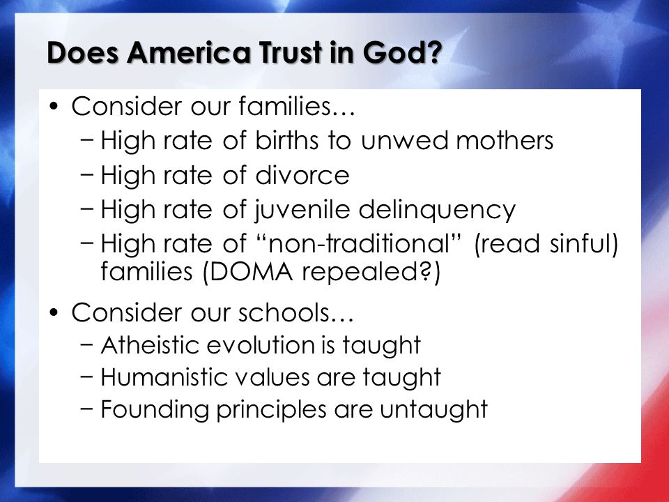 Does America Trust in God.