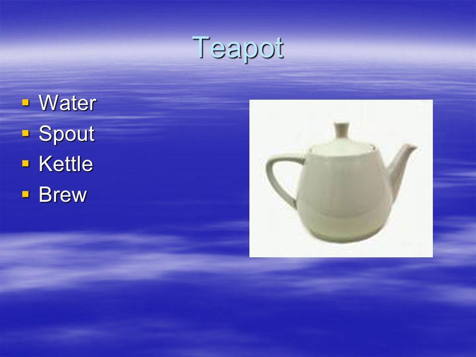 Teapot Water Water Spout Spout Kettle Kettle Brew Brew