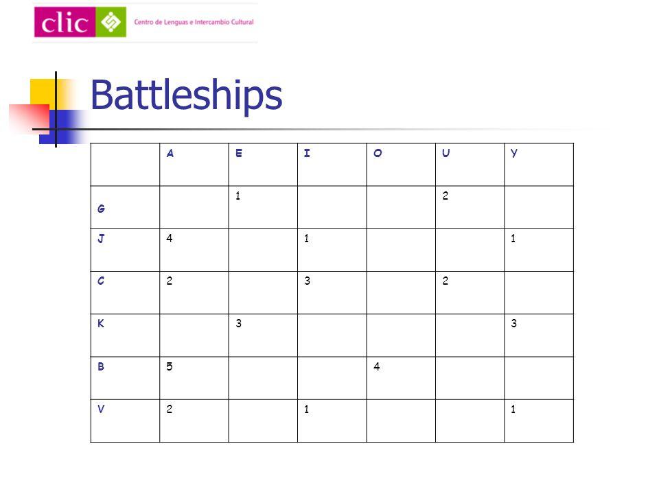 Battleships AEIOUY G 12 J411 C232 K33 B54 V211