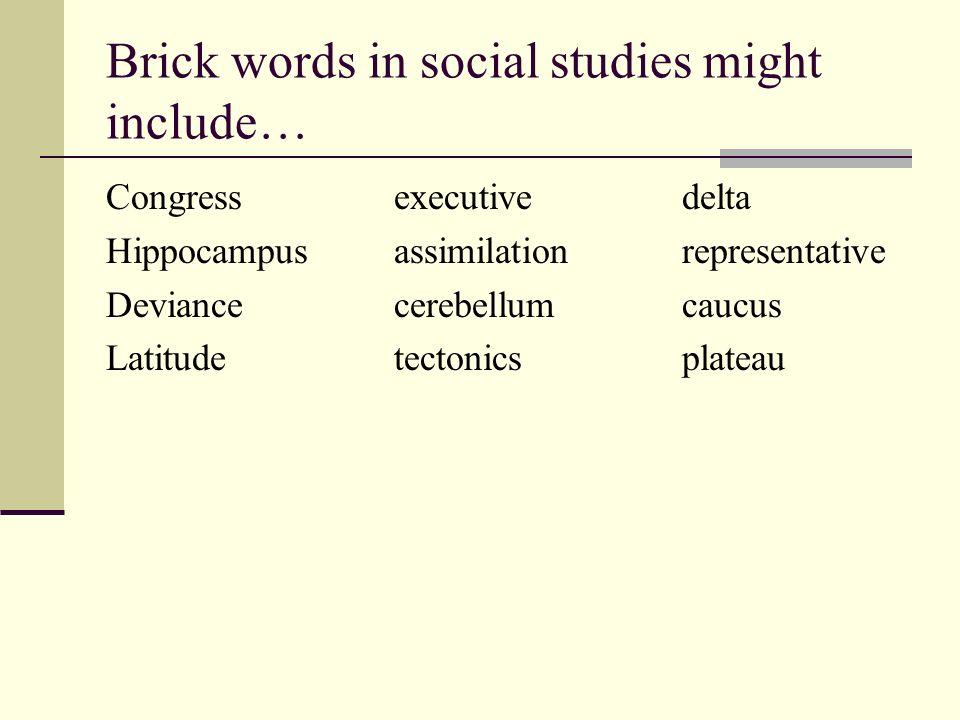 Brick words in social studies might include… Congressexecutivedelta Hippocampusassimilationrepresentative Deviancecerebellumcaucus Latitudetectonicspl