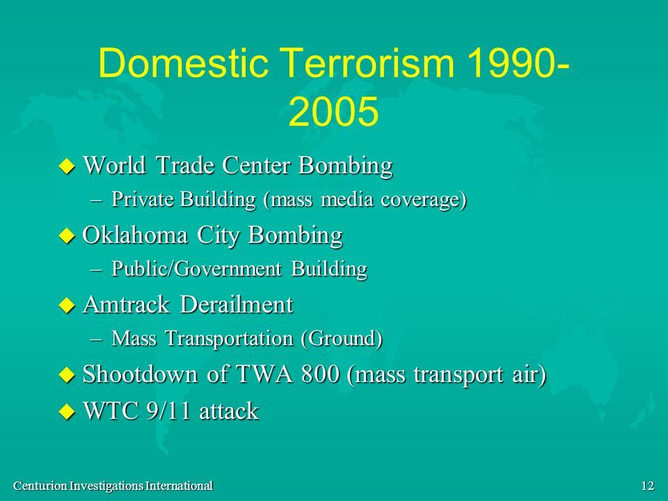 Centurion Investigations International 12 Domestic Terrorism 1990- 2005 u World Trade Center Bombing –Private Building (mass media coverage) u Oklahom