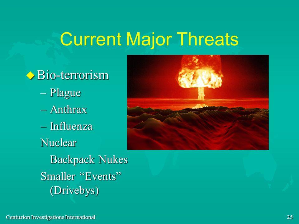 Centurion Investigations International 25 Current Major Threats u Bio-terrorism –Plague –Anthrax –Influenza Nuclear Backpack Nukes Smaller Events (Dri