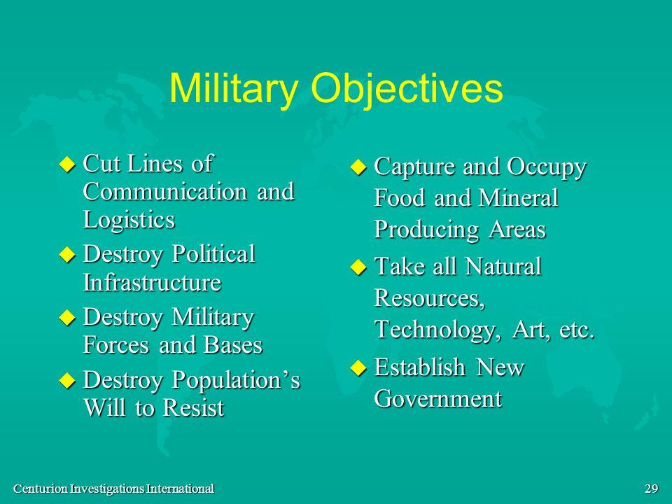 Centurion Investigations International 29 Military Objectives u Cut Lines of Communication and Logistics u Destroy Political Infrastructure u Destroy