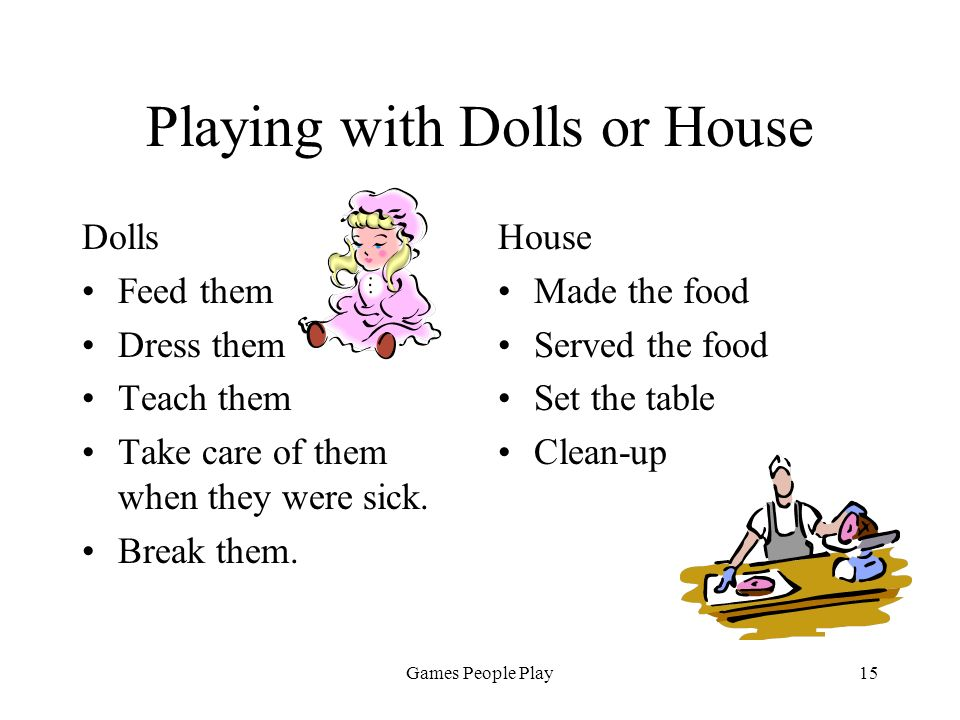 Games People Play15 Playing with Dolls or House Dolls Feed them Dress them Teach them Take care of them when they were sick. Break them. House Made th