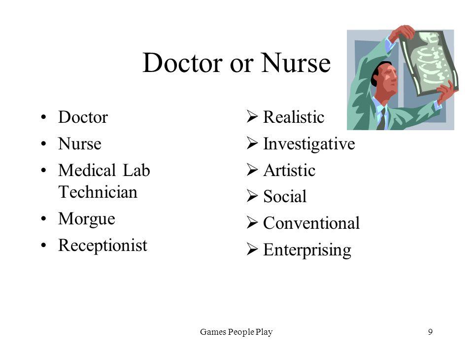 Games People Play9 Doctor or Nurse Doctor Nurse Medical Lab Technician Morgue Receptionist Realistic Investigative Artistic Social Conventional Enterprising