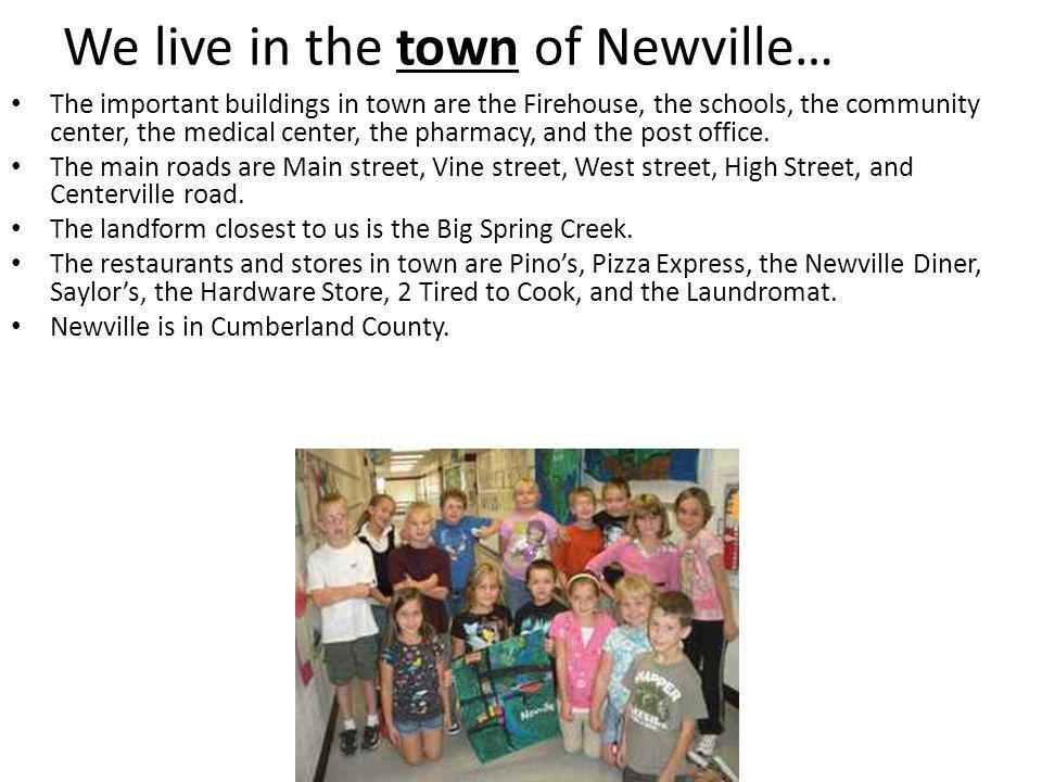 We live in the town of Newville… The important buildings in town are the Firehouse, the schools, the community center, the medical center, the pharmacy, and the post office.