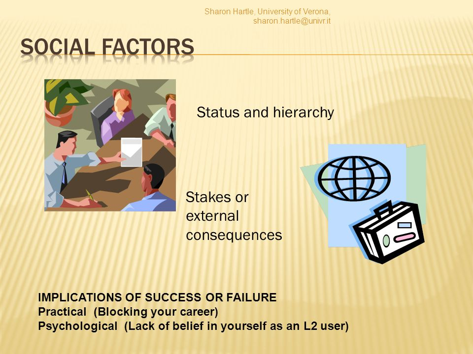 Status and hierarchy Stakes or external consequences IMPLICATIONS OF SUCCESS OR FAILURE Practical (Blocking your career) Psychological (Lack of belief in yourself as an L2 user) Sharon Hartle, University of Verona, sharon.hartle@univr.it