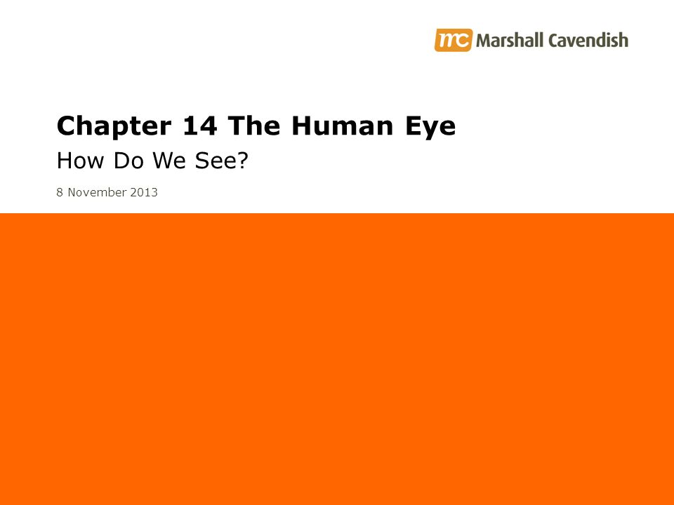 Chapter 14 The Human Eye How Do We See? 8 November 2013