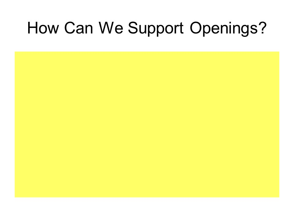 How Can We Support Openings?