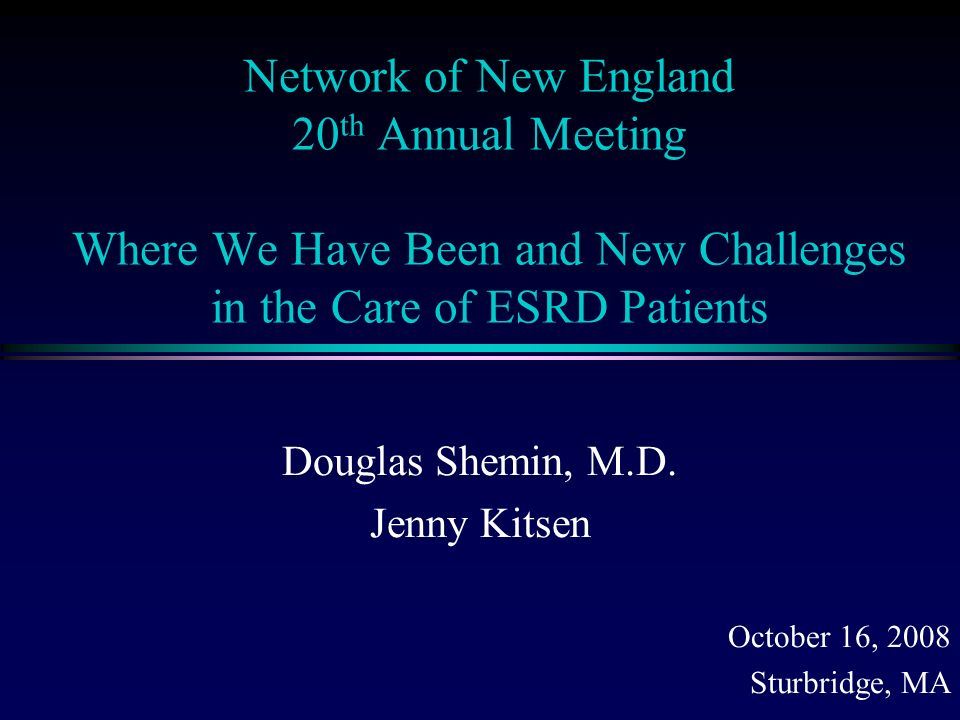 Network of New England 20 th Annual Meeting Where We Have Been and New Challenges in the Care of ESRD Patients Douglas Shemin, M.D.
