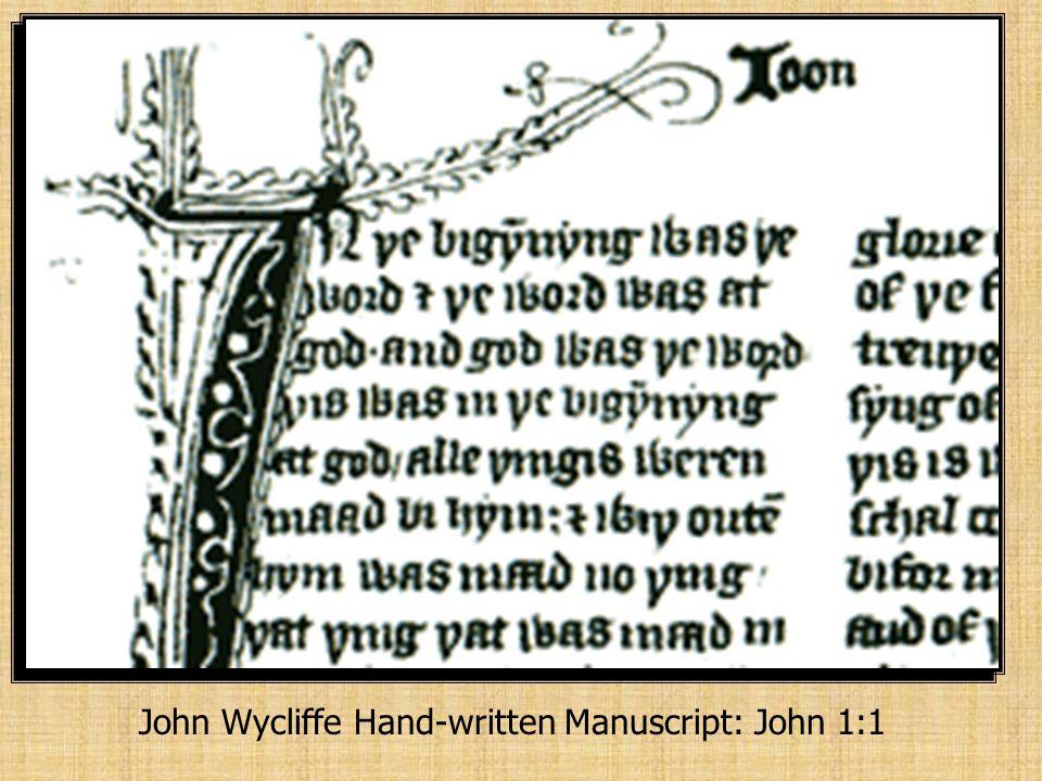 John Wycliffe Hand-written Manuscript: John 1:1