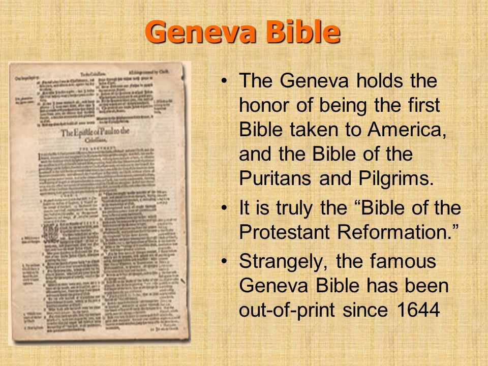 Geneva Bible The Geneva holds the honor of being the first Bible taken to America, and the Bible of the Puritans and Pilgrims. It is truly the Bible o