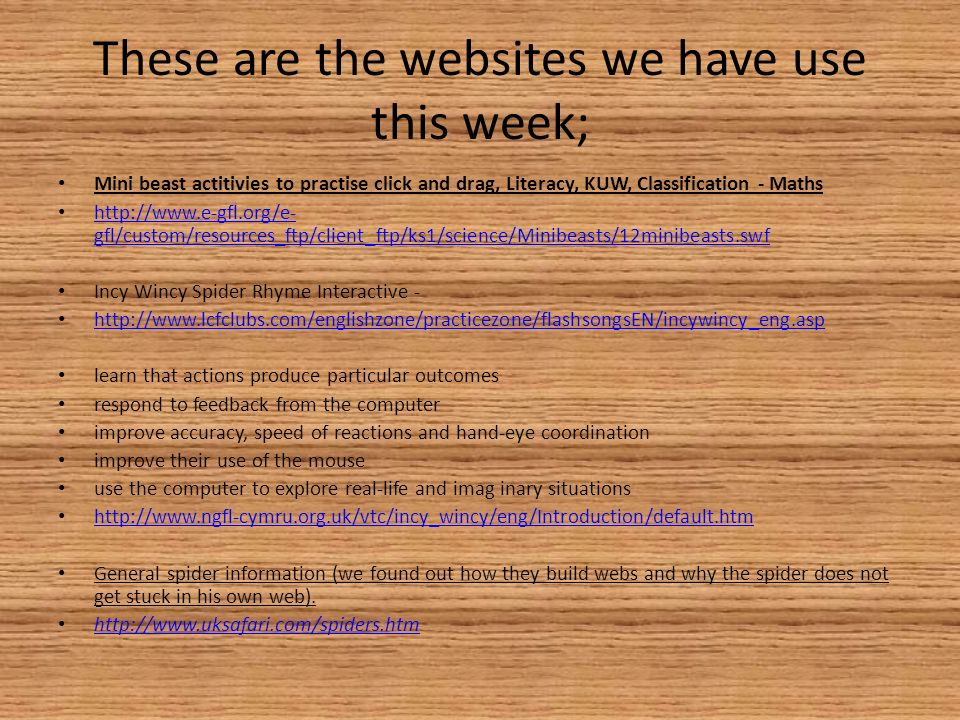 These are the websites we have use this week; Mini beast actitivies to practise click and drag, Literacy, KUW, Classification - Maths http://www.e-gfl.org/e- gfl/custom/resources_ftp/client_ftp/ks1/science/Minibeasts/12minibeasts.swf http://www.e-gfl.org/e- gfl/custom/resources_ftp/client_ftp/ks1/science/Minibeasts/12minibeasts.swf Incy Wincy Spider Rhyme Interactive - http://www.lcfclubs.com/englishzone/practicezone/flashsongsEN/incywincy_eng.asp learn that actions produce particular outcomes respond to feedback from the computer improve accuracy, speed of reactions and hand-eye coordination improve their use of the mouse use the computer to explore real-life and imag inary situations http://www.ngfl-cymru.org.uk/vtc/incy_wincy/eng/Introduction/default.htm General spider information (we found out how they build webs and why the spider does not get stuck in his own web).