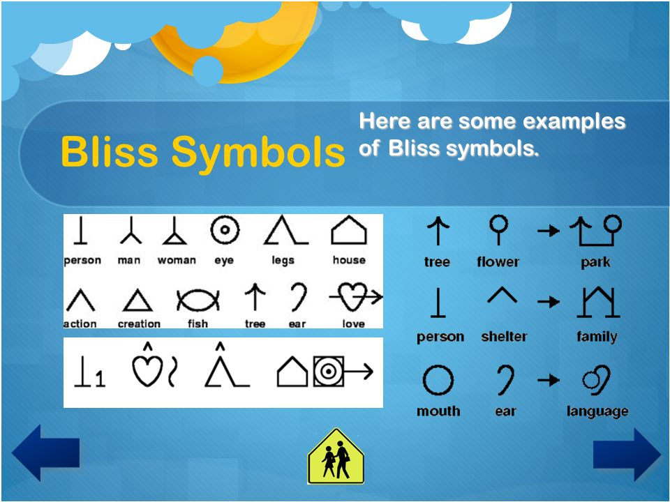 Bliss Symbols Today, you are going to use the computer to create your own symbols.