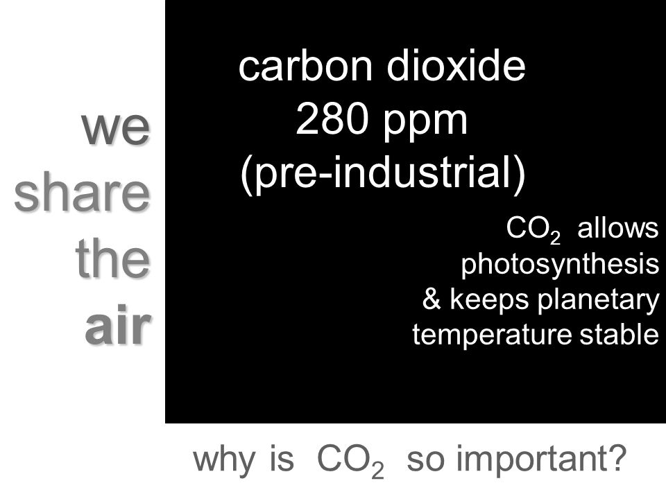 why is CO 2 so important? we share the air carbon dioxide 280 ppm (pre-industrial) CO 2 allows photosynthesis & keeps planetary temperature stable