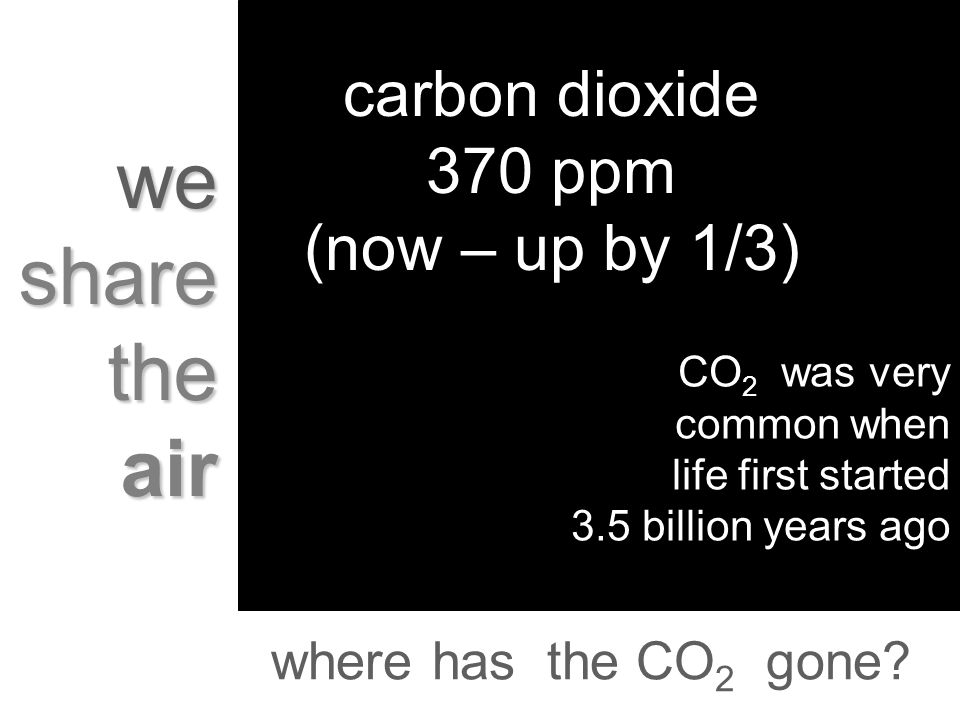 we share the air carbon dioxide 370 ppm (now – up by 1/3) CO 2 was very common when life first started 3.5 billion years ago where has the CO 2 gone?