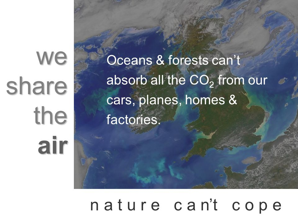 we share the air n a t u r e c a nt c o p e Oceans & forests cant absorb all the CO 2 from our cars, planes, homes & factories.