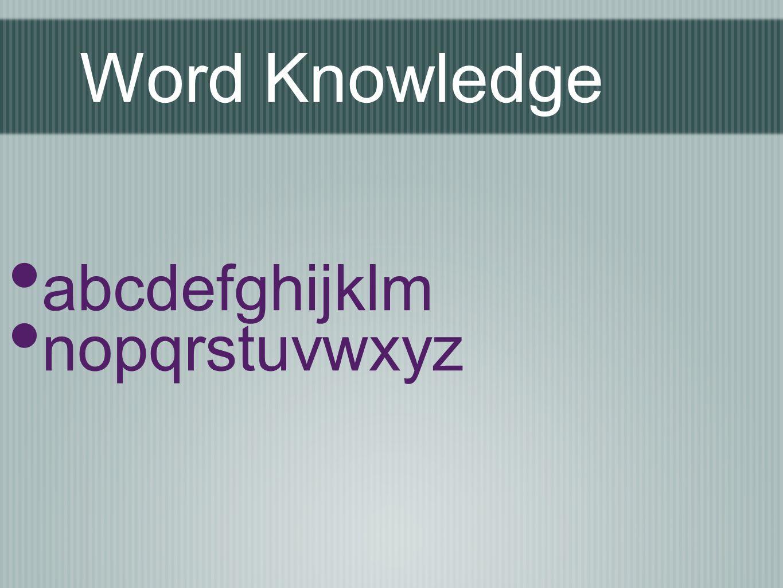 Word Knowledge abcdefghijklm nopqrstuvwxyz