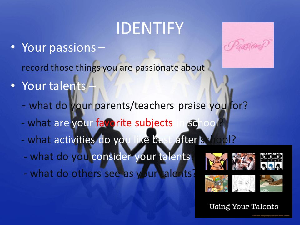 IDENTIFY Your passions – record those things you are passionate about Your talents – - what do your parents/teachers praise you for? - what are your f