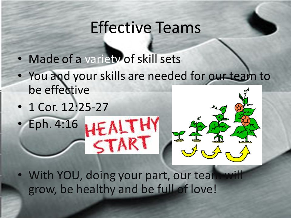 Effective Teams Made of a variety of skill sets You and your skills are needed for our team to be effective 1 Cor.