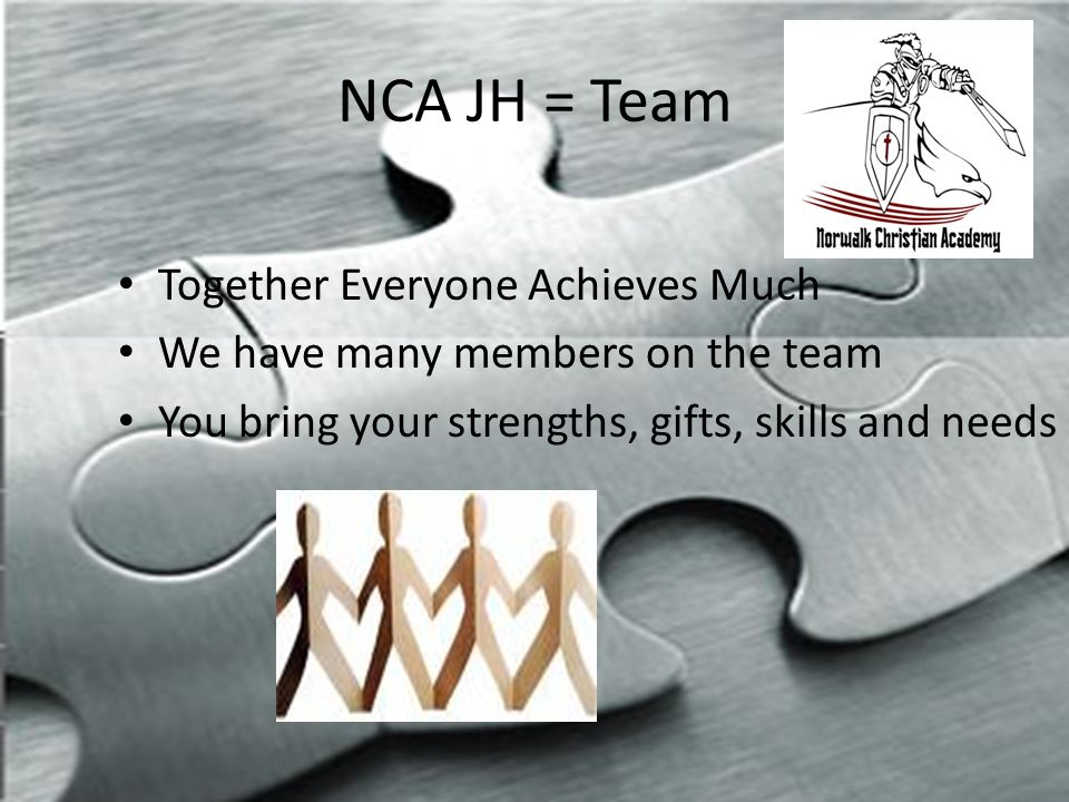 NCA JH = Team Together Everyone Achieves Much We have many members on the team You bring your strengths, gifts, skills and needs