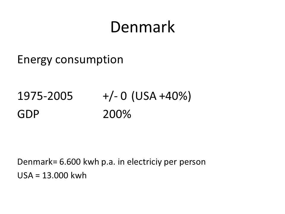 Denmark Energy consumption 1975-2005+/- 0 (USA +40%) GDP 200% Denmark= 6.600 kwh p.a. in electriciy per person USA = 13.000 kwh